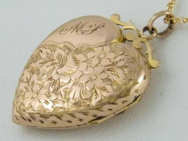 C1900 Antique Gold Locket Vintage Edwardian Victorian