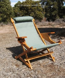 Alder Wood Sling Chair In Blue Outdoor Fabric With Arm