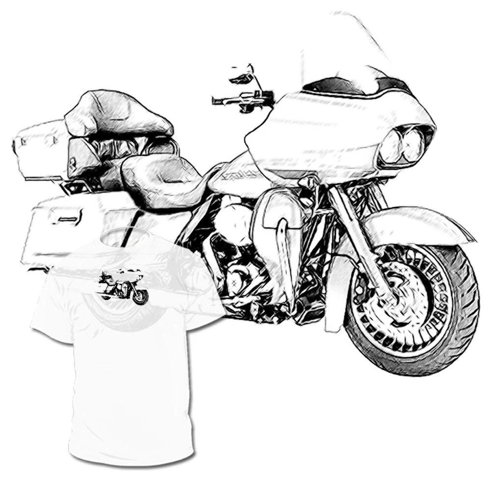 Harley Davidson Road Glide Drawing T shirt Vrod Dyna by