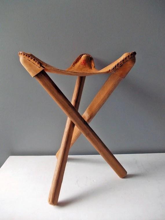 Three Legged Leather Stool  Vintage Footstool or Camping