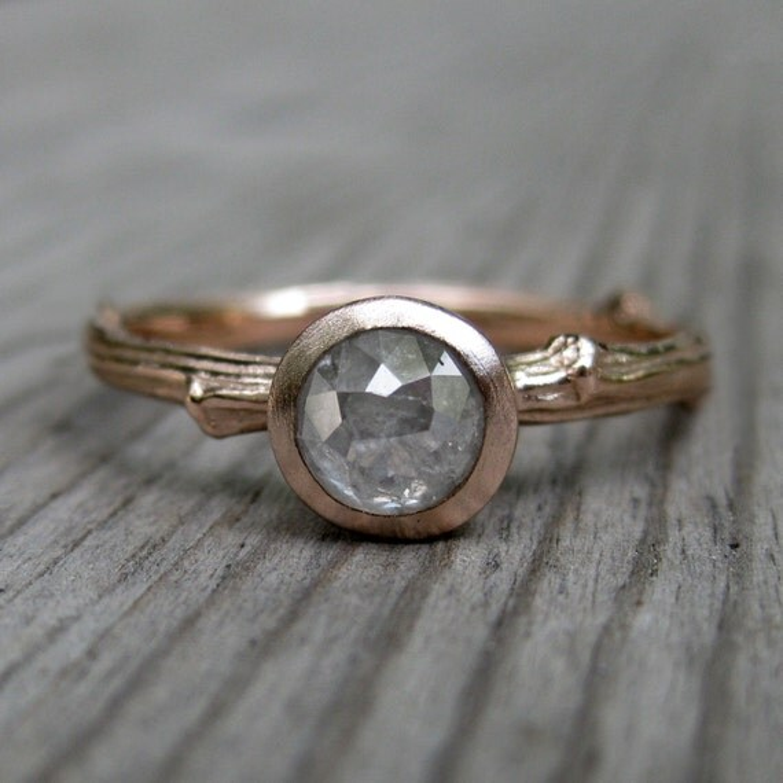 Rustic Diamond Twig Engagement Ring Rose Gold