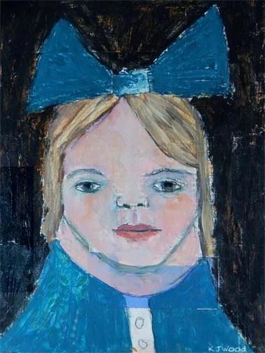 Acrylic Portrait Painting, Little Girl, Lauren, Big Blue Bow, Blonde, 9x12 Canvas Panel, Original, Mixed Media