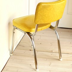 Retro Kitchen Chairs White Chair Yellow And Chrome Dinette Mid Century Vintage