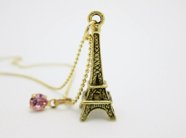 Eiffel Tower Necklace Gold Charm With Pink