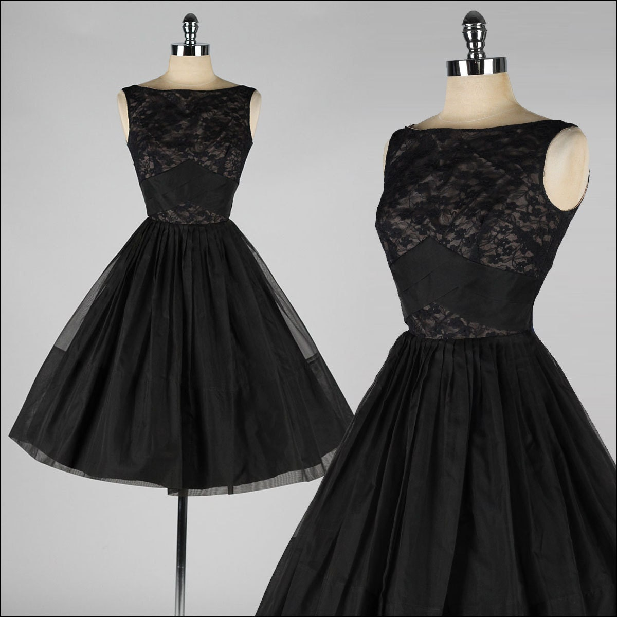 vintage 1950s dress  black organza  illusion lace  3751