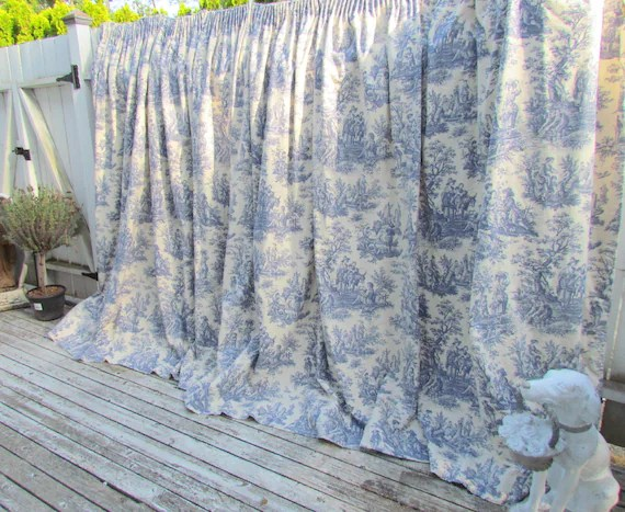 Vintage Waverly Toile Blue And White Curtain Drape Country