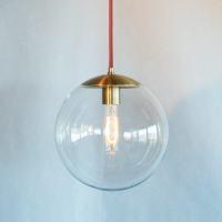 Modern Mid Century Globe Pendant Light Clear 10 Globe