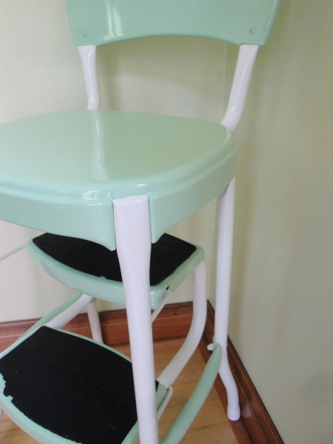 chair stool retro director covers canada vintage restored cosco kitchen step mint green
