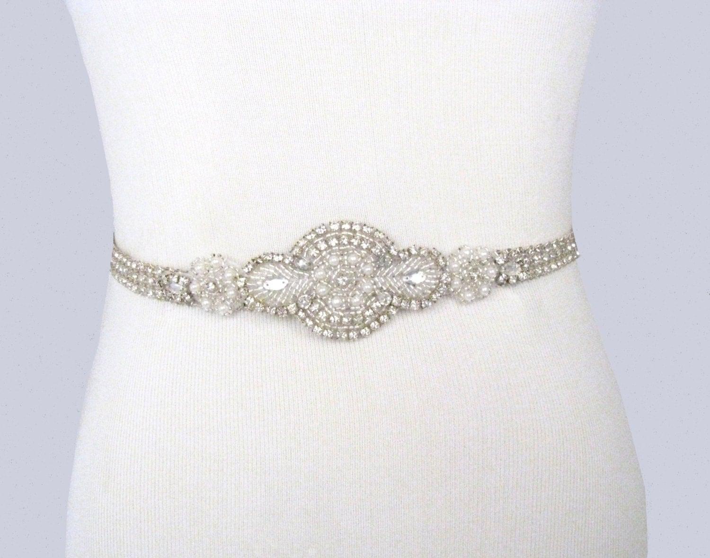 Bridal Sash Rhinestone Wedding Belt Crystal Pearl Dress