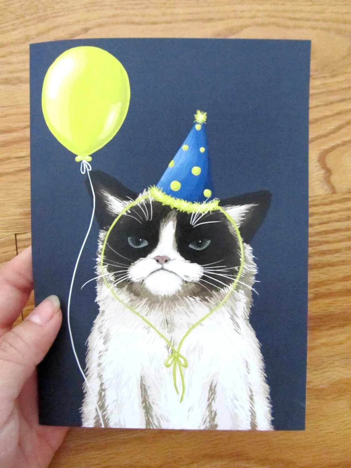 Painted Party Hat Grumpy Cat Birthday Card
