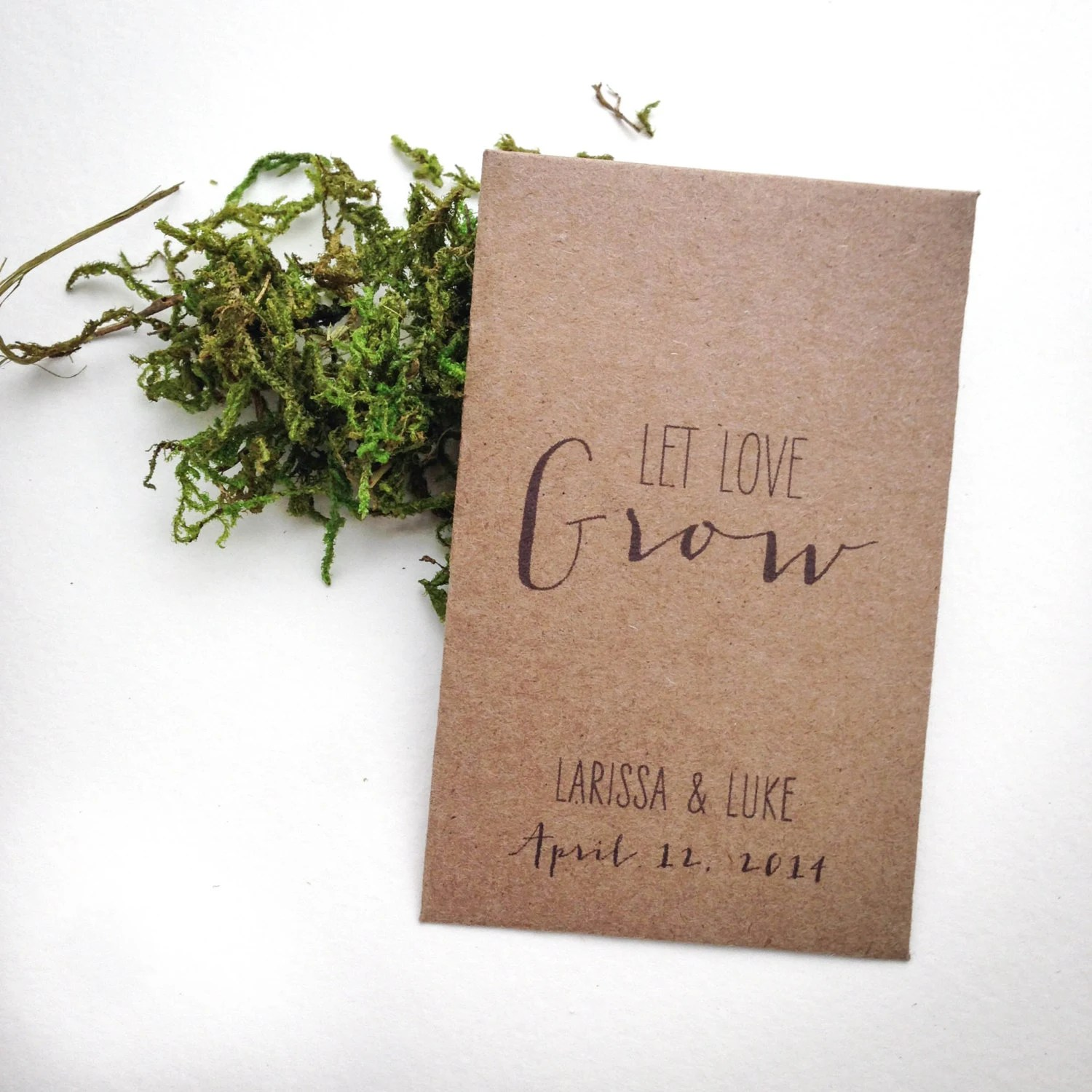 Rustic Personalized Seed Packet Wedding Favors, Let Love