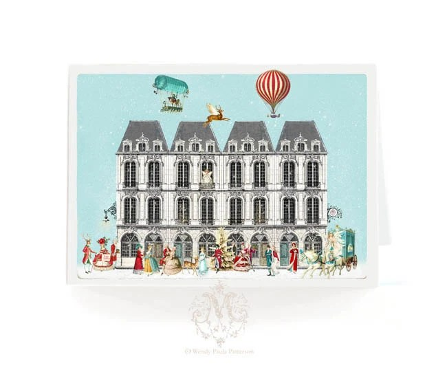 Parisian apartment houses, Christmas card, Paris, angel, deer, horse and carriage, snow, aqua blue, hot air balloon, Marie Antoinette, red - mulberrymuse