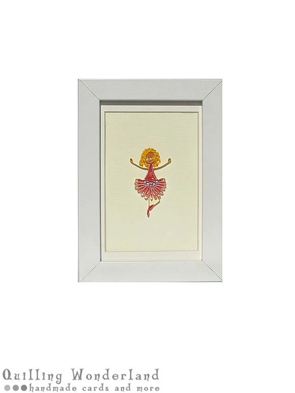 Tutu Girl pink nursery Picture - paper quilling housewarming 4x6""