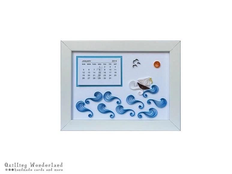 2014 calendar, NAUTICAL NURSERY calendar, paper quilling boat, calendar tab, wall decor, christmas gift  for him