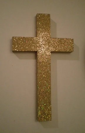 Gold Glitter Cross Decorative Wall Cross In By