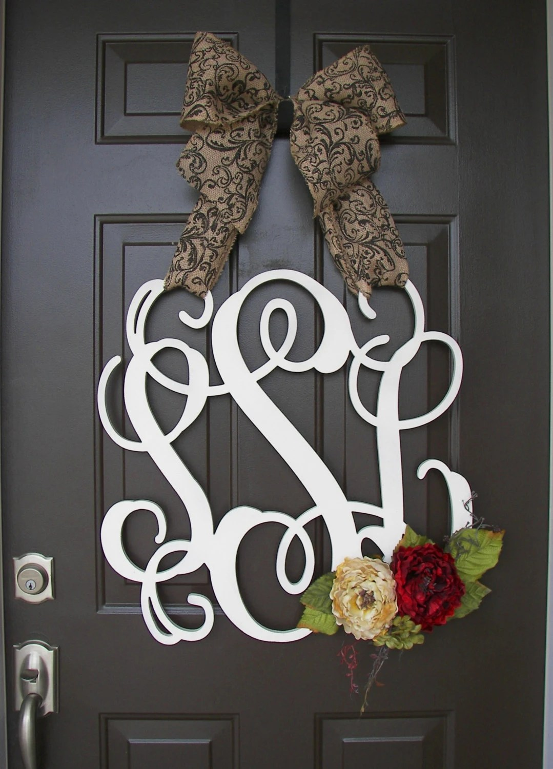 Custom MONOGRAM door wreath  BURLAP bow red cream by