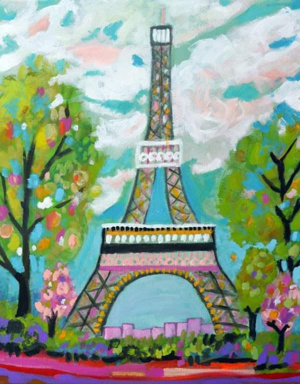 Abstract Eiffel Tower Painting Original Karen Fields 16 X
