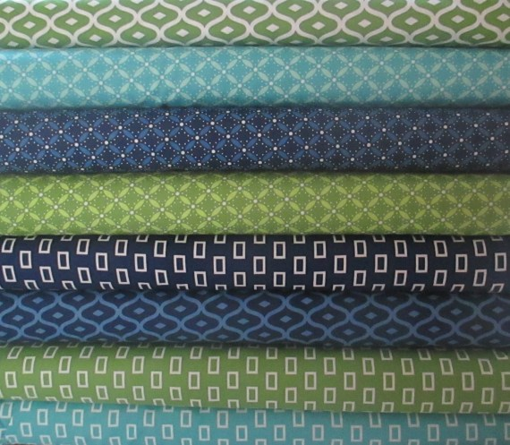 Green Blue Geometric Fat Quarter Bundle Fabric - Moda - Simply Style