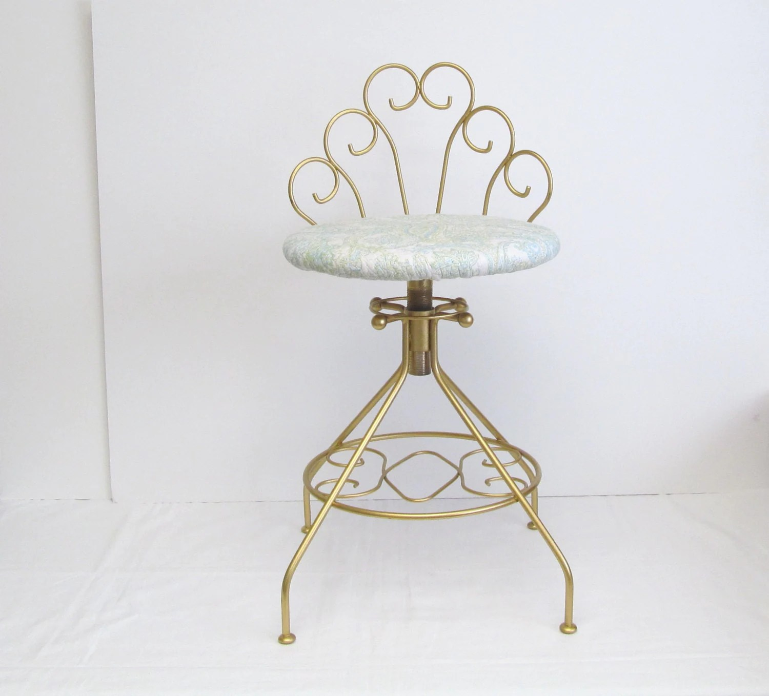 Modern Vanity Chair Vintage Modern Vanity Stool Gold Color With Quilted Aqua