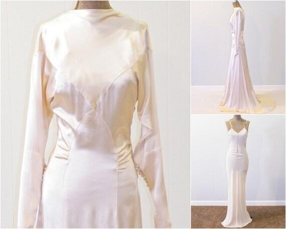 1930s Wedding Dress Ivory Silk Charmeuse 30s Wedding Gown