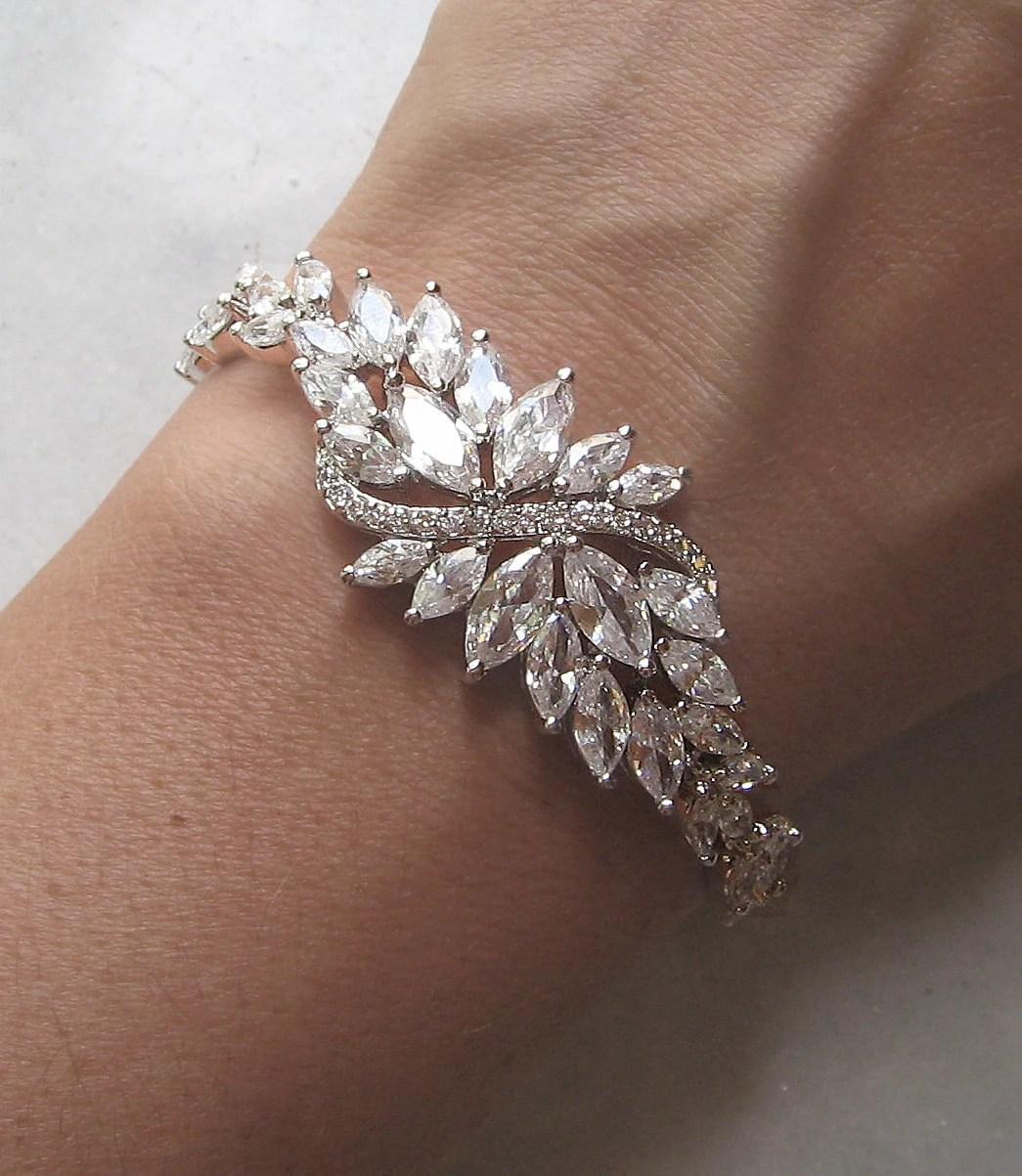 Crystal Wedding Bracelet Cubic Zirconia Bracelet Swarovski