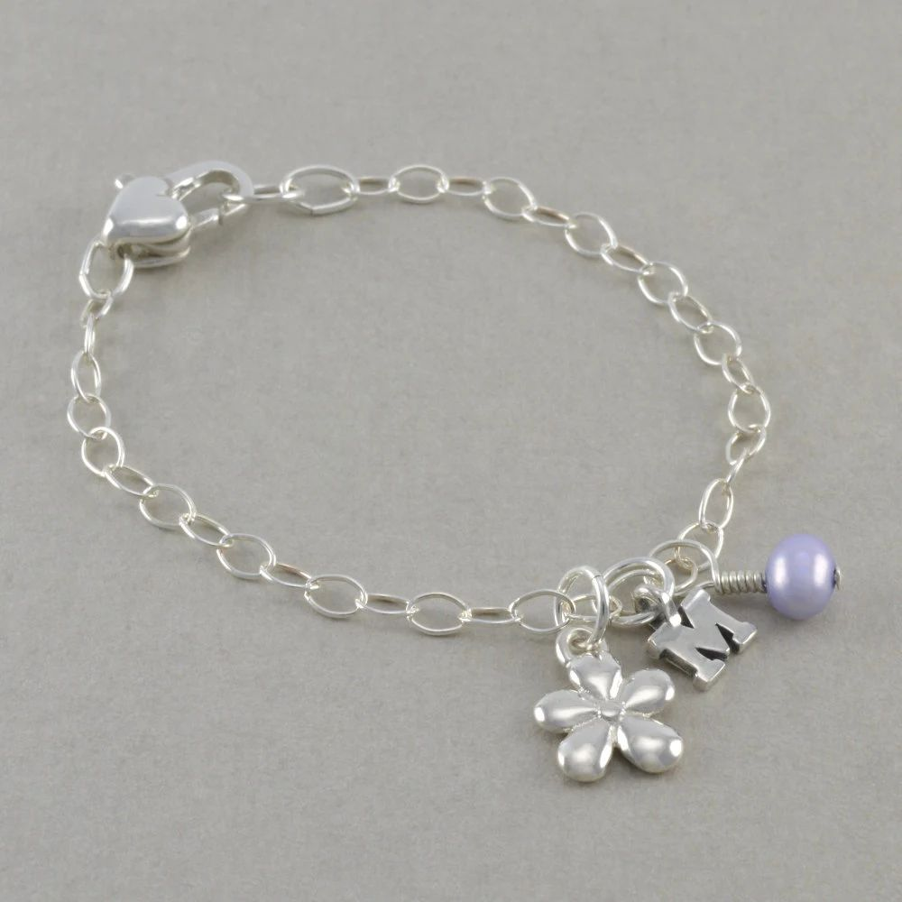 monogram pearl bracelet with sterling silver charm