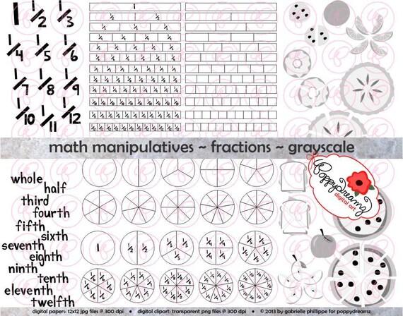 Math Manipulatives Fractions GRAYSCALE Clipart Set 300 dpi