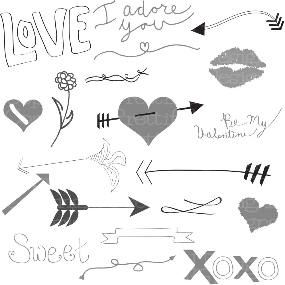 Vector Valentine Heart Love Arrow Clip Art in svg eps and