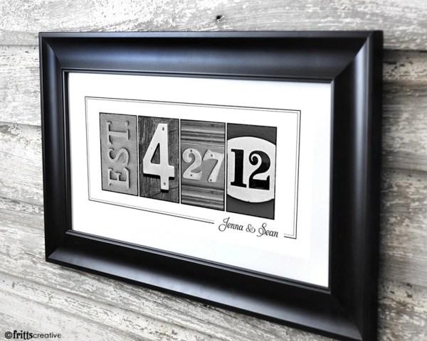 Wedding Date Print In Alphabet 10x20