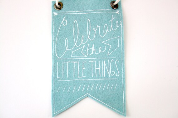 Mini-Banner wall hanging, light blue wool blend felt, screen print in white ink