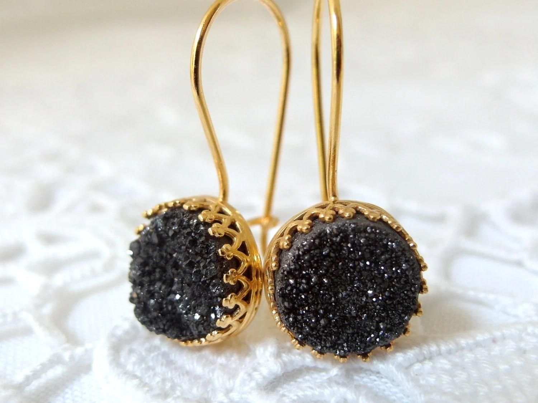 Druzy earrings Black druzy earrings Drop earrings Dangle