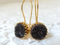 Druzy earrings Black druzy earrings Drop earrings Dangle