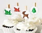 Christmas Party Decoration Cupcake Toppers Reusable Set of 12 Santa's Sleigh Reindeer Trees Party Favors Clips Dessert Table Settings - wishdaisy