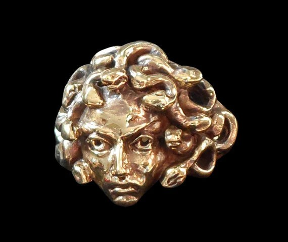 Solid Bronze Medusa Ring - Free Re-Size/Shipping - Easternages