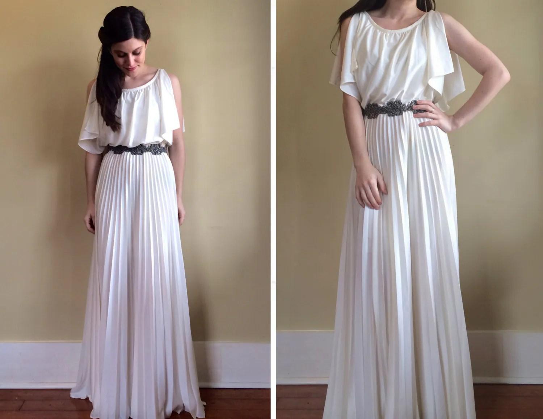 Vintage 70's Greek Goddess Wedding Dress With Pleated Maxi