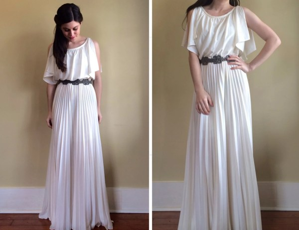 Vintage 70' Greek Goddess Wedding Dress With Pleated Maxi