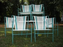 Reserved Gabriela Vintage Patio Set 6 Striped Vinyl Strap
