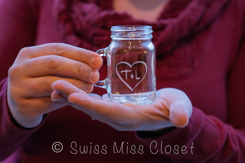 Custom Etched Mini Mason Jar Shot Glass Personalized Wedding