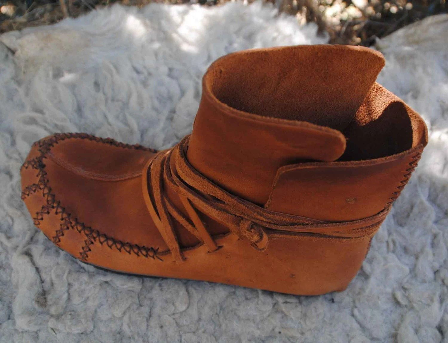 Womens Moccasin wrap ankle boots soft spanish leather by