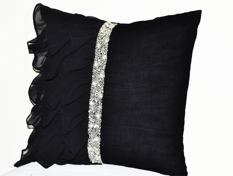 Black ruffled sequin throw pillow 18x18 Decorative Pillow