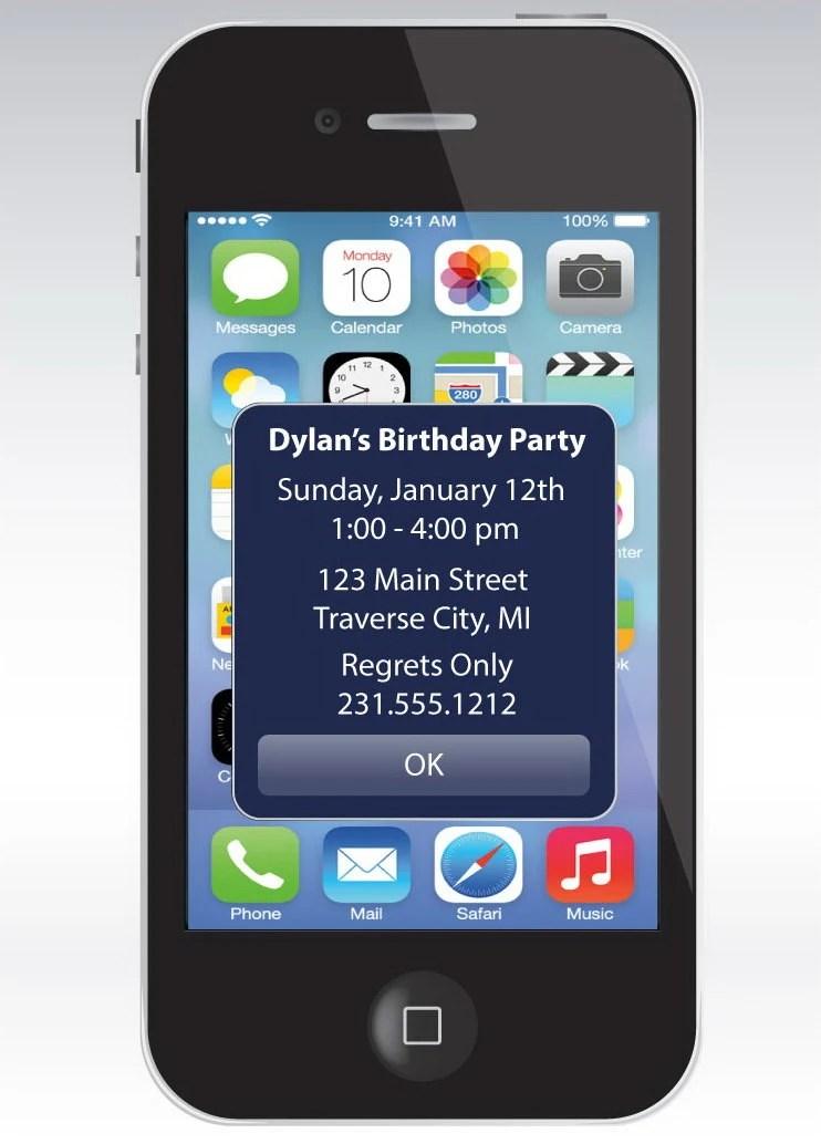 IPhone Alert Invito Compleanno Unico Stampabile Inviti