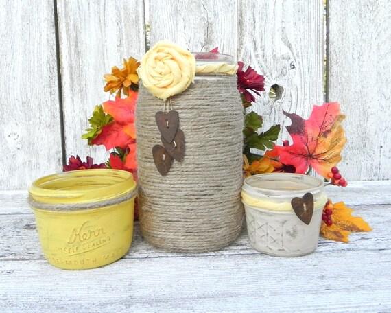 Items Similar To Yellow Wedding Table Decor, Rustic Shabby