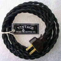 BLACK Cloth Covered Wire 8-ft Cordset Vintage Style Lamp