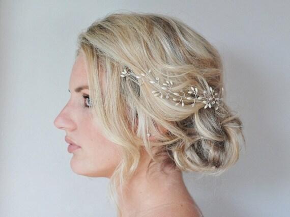Rice Pearl Crystal Hair Vine Wedding Hair