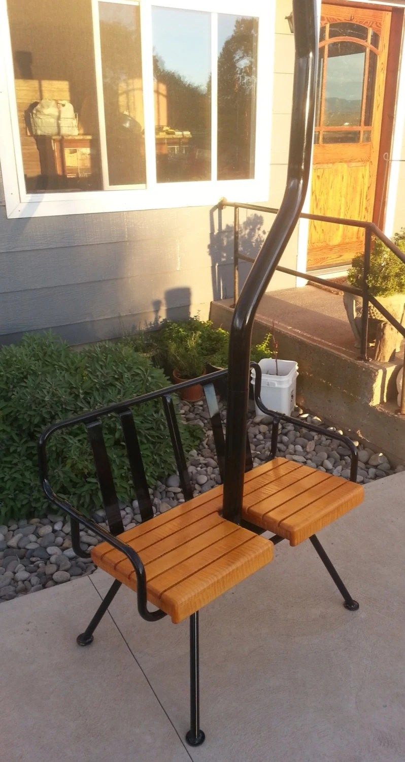 Vintage 60s ski lift chair with legs from by