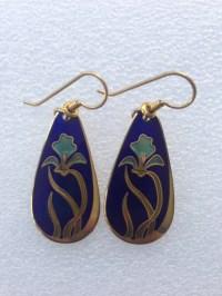 Laurel Burch Vintage 1980s Wild Iris earrings. Signed by