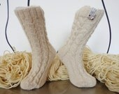 Clock socks - cable socks  - a cornucopia of cables -  warm alpaca and silk socks -  thick and delicious -  size 4 to7 - belindaharrisreid