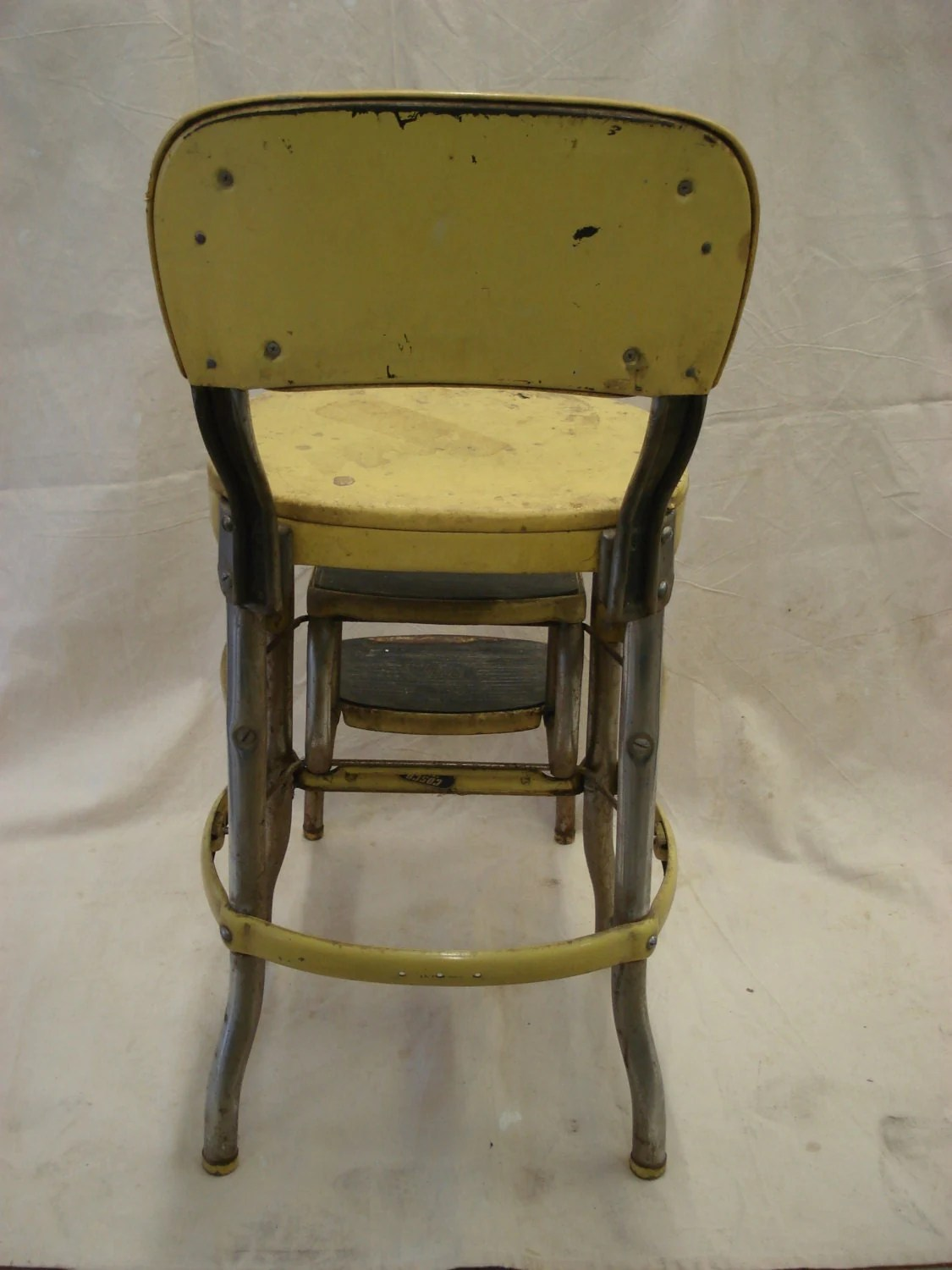 folding kitchen step stool home depot sinks stainless steel vintage metal yellow costco chair fold out