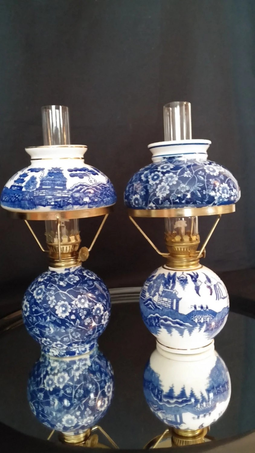 Asian Blue Calico Oil Lamps Blue And White Transferware Hand