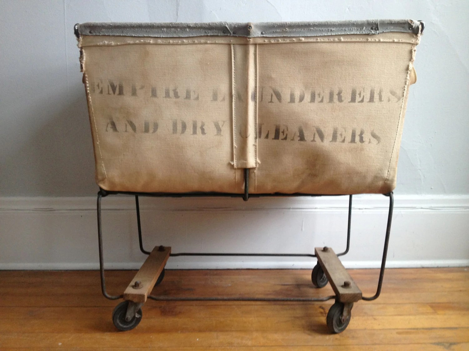 ON SALE Vintage Industrial Canvas Laundry Cart